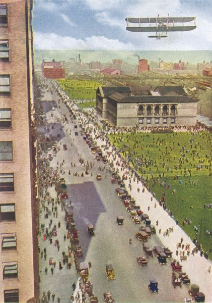 'This view of an aeroplane over the Art Institute, Chicago, was not taken from an aeroplane, as one might think, but from a skyscraper.' Date: 1916