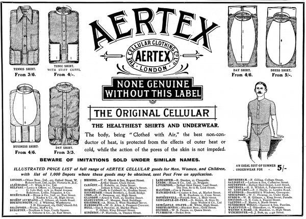An advertisement showing the styles of shirts and underwear made from Aertex, 1906