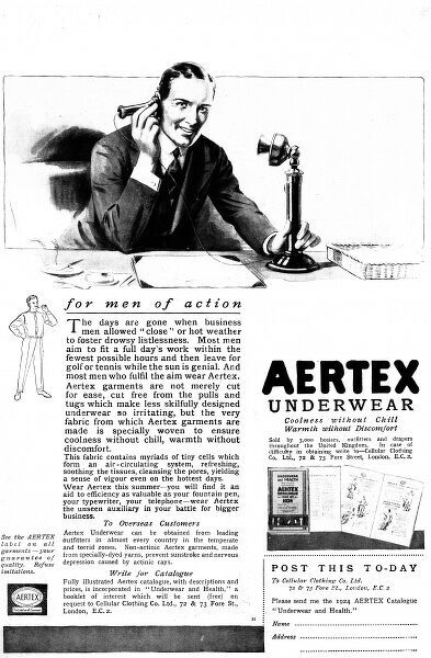 Advertisement from 1924 for Aertex underwear showing a businessman or office worker taking a telephone call at his desk