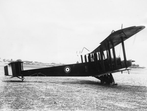 A Handley Page biplane belonging to the AFC (Australian Flying Corps) at the aerodrome at Haifa, North Palestine (Ottoman Empire), during the First World War
