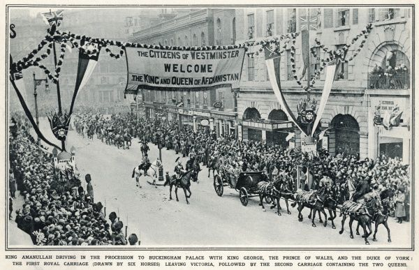 KING AMANULLAH OF AFGHANISTAN King Amanullah rides in a procession through the streets of London on the way to Buckingham Palace during a visit to Europe in March 1928