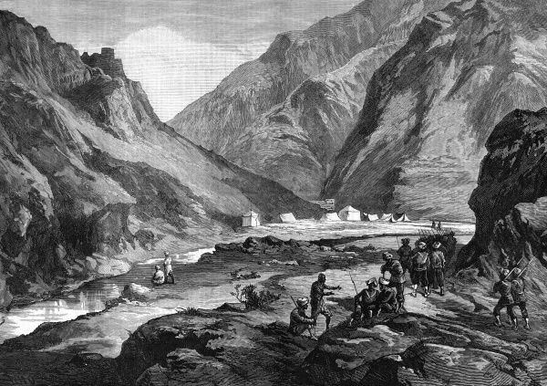 An Anglo-Indian encampment in the pass of Ali Musjid, in the Khyber. In the foreground can be seen the advance guard of the 14th Sikhs. Date: 1878