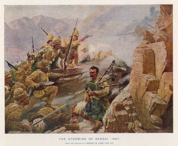 THE STORMING OF DARGAI The Gordon Highlanders, under Colonel Mathias, storm heights fiercely defended by a large force of Afridis