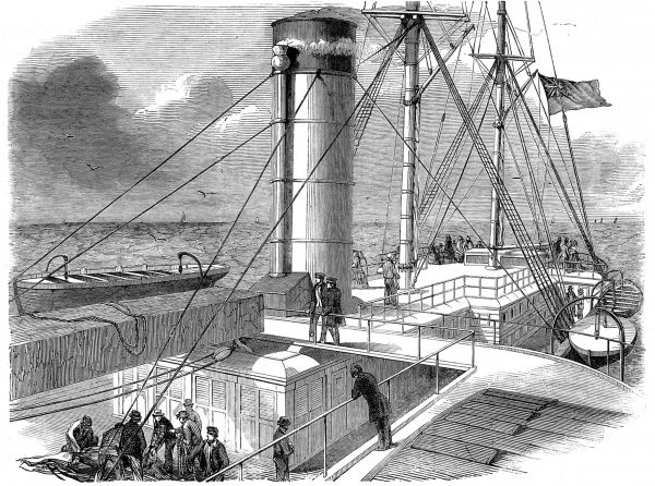 Engraving of the after-deck of Cunard Line Royal Mail Paddle-steamer 'Asia' at sea, 1850. 'Asia' was the largest steamship yet built on the River Clyde, with a length overall of 280 feet and a gross tonnage of 2226 tons. In this image