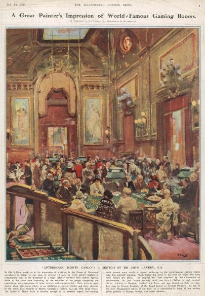 Sir John Lavery's impression of the gaming rooms at the world famous casino in Monte Carlo