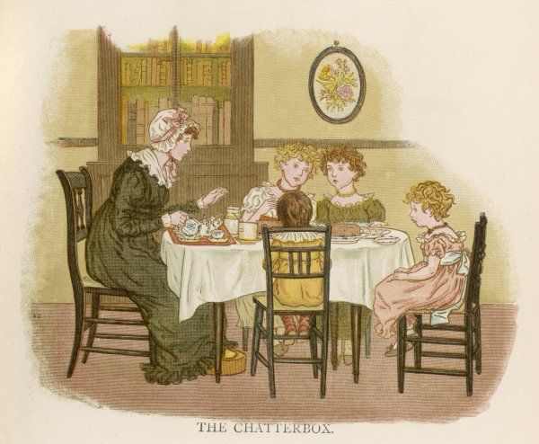 Mother and children around the table for tea