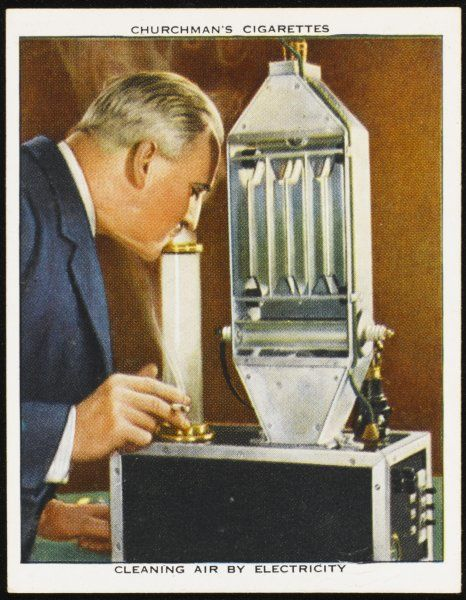Air-conditioning equipment which cleans air by electricity, devised by the Westinghouse Electric International Co