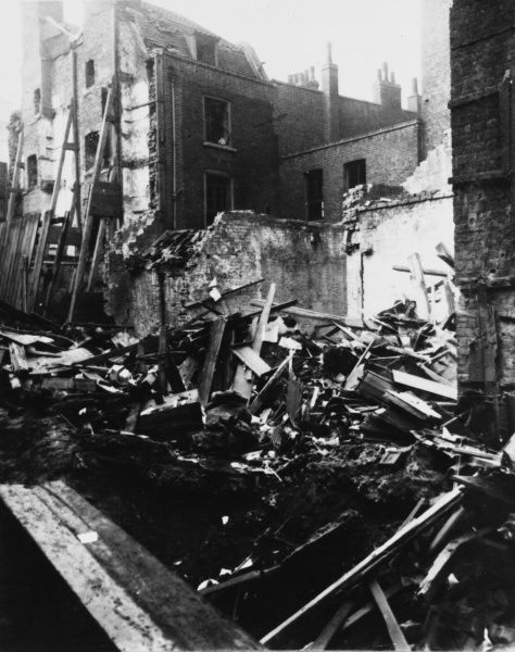 Damage to a house in Leman Street, East London, after a Zeppelin air raid during the First World War on 14th October 1915