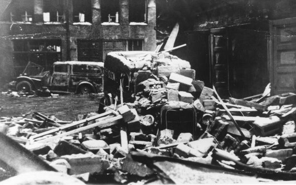 Finnish tradesman's van has become a Russian air raid casualty in Helsinki, Finland, during World War II