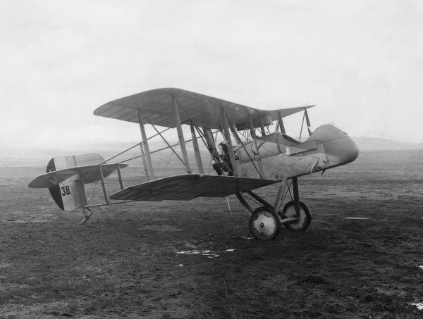 An Airco DH2 De Havilland fighter biplane on an airfield during the First World War. It was a single-seater scout with a Gnome Monosoupape 100 horsepower engine. Date: 1915-1918