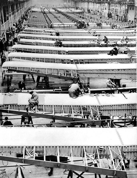 Photograph showing a shed full of 'Whitley' bomber wings at the Armstrong Whitworth works in Coventry, Britain, 1939