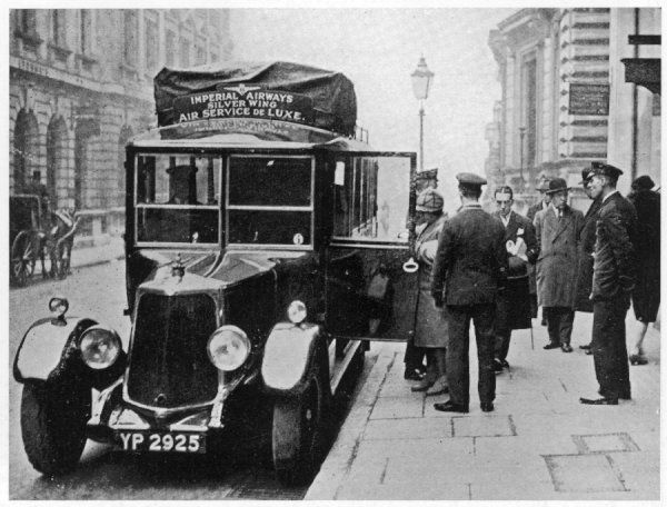 Passengers for the Continent leave the Charles Street head- quarters of Imperial Airways, and board the Imperial Airways motor=car which will whisk them to Croydon air-station