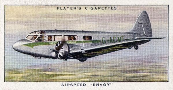 "The Airspeed ""Envoy"" aeroplane, a commercial cabin twin engined plane seating eight passengers and one pilot. Date: circa 1936"