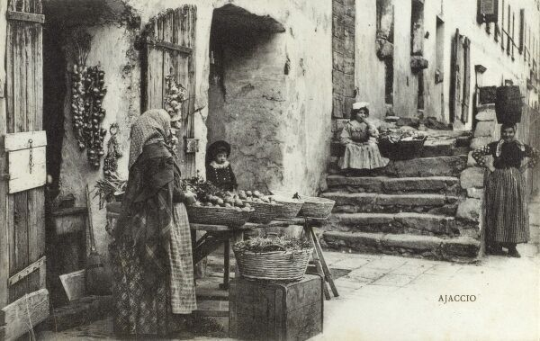 A street stall selling vegetables on a corner of Napoleon Way ('Cours Napoleon') at Ajaccio - Corsica, France Date: circa 1910s