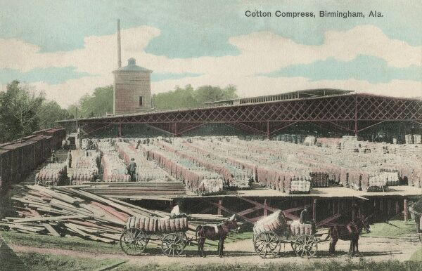 Birmingham, Alabama - The Cotton Compress. Birmingham was founded on June 1, 1871, by cotton gin promoters who sold lots near the planned crossing of the Alabama & Chattanooga and South & North Alabama railroads