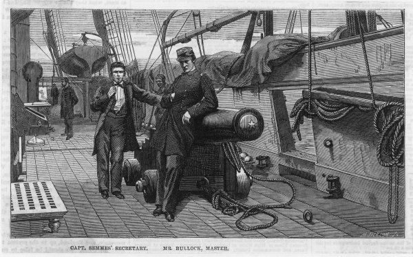 The Confederate war-steamer 'Alabama' :- Captain Semmes' secretary (left) and Mr Bullock, Master, standing on deck