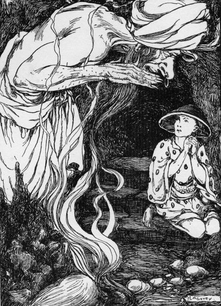 Aladdin by Lilian Govey. The Genie appears from the bottle. A fairy tale from One Thousand and One Nights Date: 1912