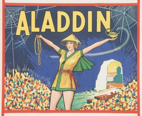 Theatre poster for the pantomime, Aladdin, depicting Aladdin in cave of treasures holding jewels and his magic lamp aloft