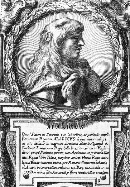 Alaric II (484-507) - The Eighth KIng of the Visigoths in Spain. Fought Clovis in the Battle of Vouille (near Poitiers) and was defeated, with Alaric being slain by Clovis himself (according to the writing of Gregory of Tours). Date: circa 507 AD