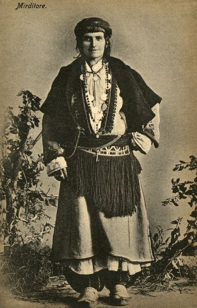 A fine looking Albanian Woman in traditional Folk Costume Date: 1919