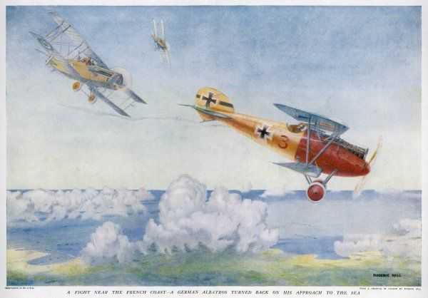 A German 'Albatros' is pursued by two British aircraft
