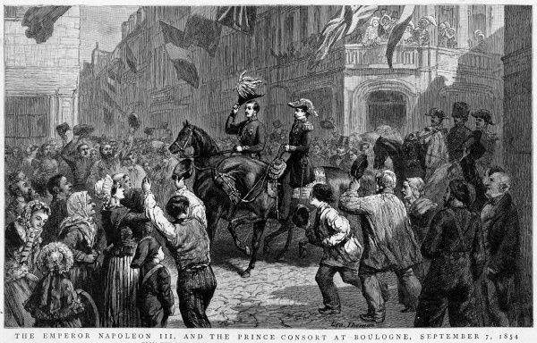 He meets Prince Albert at Boulogne, and they ride through the town with applause from the citizens