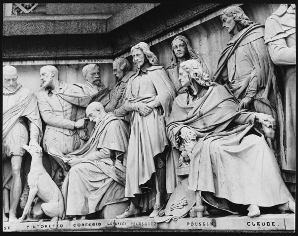 One of the sculpted friezes around the base of the Albert Memorial, depicting famous Renaissance artists such as Tintoretto, Coreggio, Velasquez, Poussin, etc