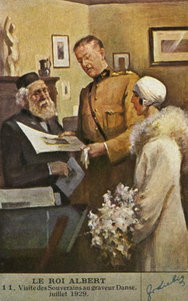 ALBERT I and Elisabeth visit the engraver Danse on his 100th birthday. Date: 1875 - 1934