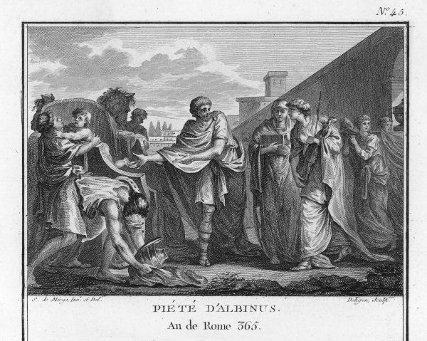 When the Gauls attack Rome, a plebeian named Albinus helps the fleeing Vestal Virgins by taking them in his cart to the city of Cumae, where they find shelter in a temple