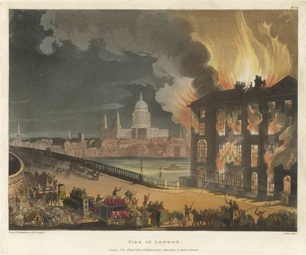 The fire at Albion Mills, on the Surrey bank of the Thames at Blackfriars Bridge. Several fire brigades have come to the scene but too late to save the flour and grain