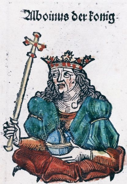 Alboin (died 572 or 573) King of the Lombards, and conqueror of Italy. Coloured woodcut. Date