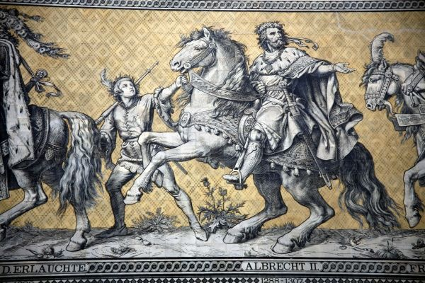 Furstenzug, the Procession of the Princes, a wall of ceramic tiles showing the rulers of the House of Wettin since 1127 in Dresden, Germany