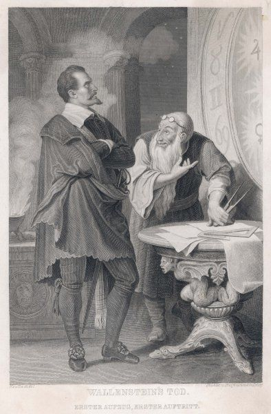 ALBRECHT VON WALLENSTEIN Austrian general, generally but not consistently loyal to the Emperor : depicted consulting an astrologer