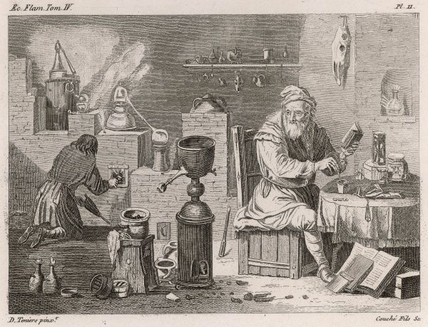 An alchemist studies an old instruction manual, while his assistant keeps the furnace going. His workshop is filled with state-of-the-art equipment for The Great Work