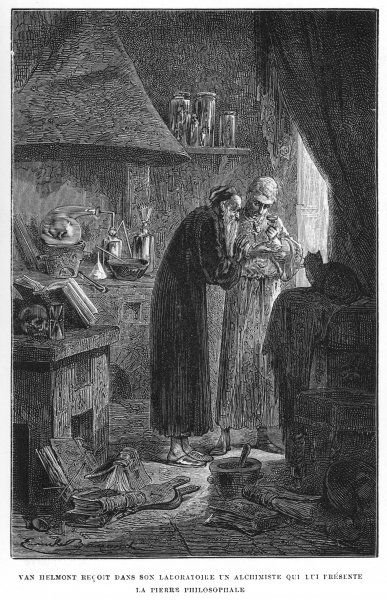 Alchemist Van Helmont (1577- 1644) is visited by a stranger who generously presents him with the Philosopher's Stone which turns base metals into gold