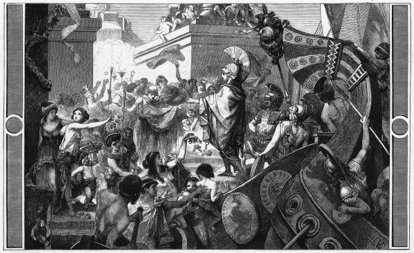 Alcibiades is acclaimed by the people of Athens when he returns after victories over the Spartans
