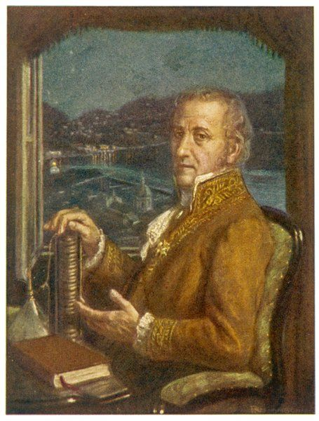 count ALESSANDRO VOLTA Italian scientist, depicted holding his battery