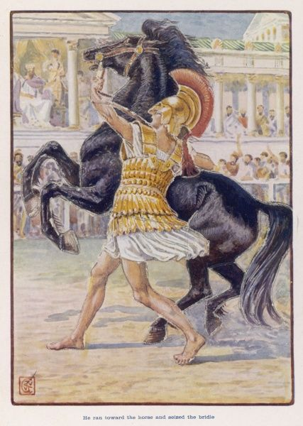 ALEXANDER THE GREAT Young Alexander impresses his father, Philip of Macedon and his courtiers by taming the wild horse Bucephalos