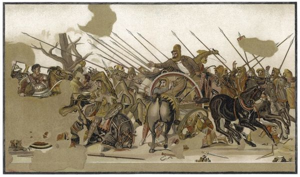 At Issus (near Iskanderun in Turkey) Alexander routs a vast horde of Asiatics and mercenaries, driving Darius, King of Persia, from the field