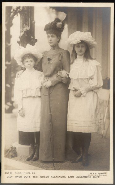 QUEEN ALEXANDRA with her two granddaughters Alexandra Duff (later Duchess of Connaught) and Maud, daughters of Princess Louise- Victoria, Duchess of Fife