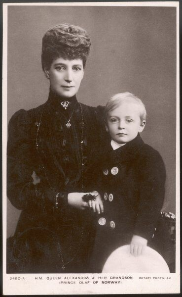 QUEEN ALEXANDRA Wife of Edward VII, with her grandson Olaf (son of her daughter Maud)