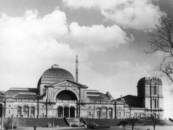 Alexandra Palace, north London, England. The original 1873 building dramatically burnt down, only 16 days after it had opened. It was quickly rebuilt and re-opened in 1875