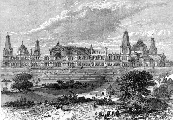 Engraving showing the exterior of the Alexandra Palace, Muswell Hill, London in April 1875