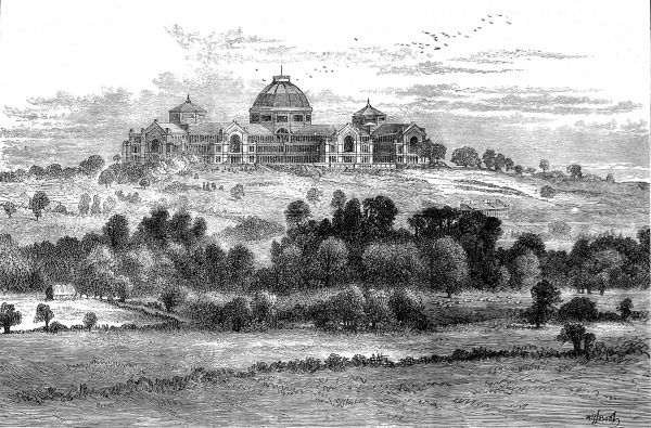 Engraving showing a distant view of the Alexandra Palace, Muswell Hill, 1871