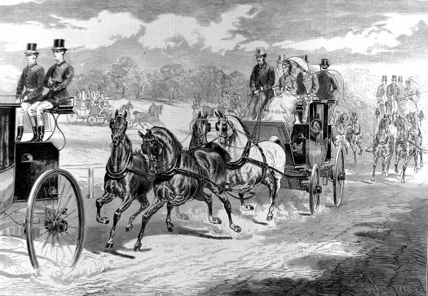 Engraving showing members of the Four in Hand and Coaching Clubs enjoying their chosen sport/method of transport at the Alexandra Park Horse Show of 1875