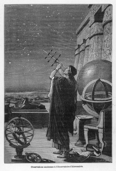 Alexandria observatory : an astronomer using a pre- telescopic sighting instrument