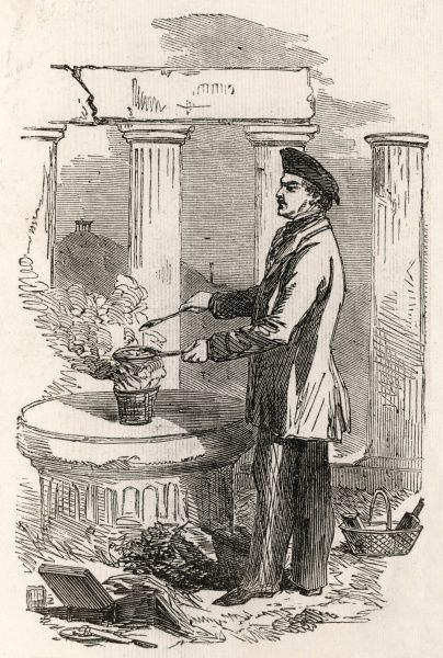 ALEXIS SOYER noted chef and authority on gastronomy, seen cooking amid the ruins of the Parthenon at Athens en route to the Crimea
