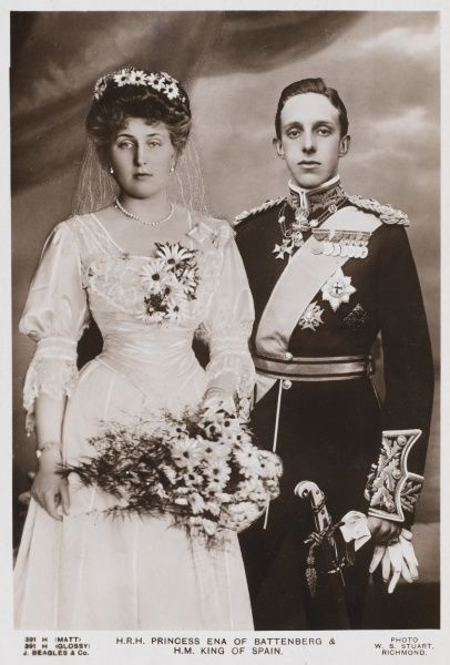 ALFONSO XIII, KING OF SPAIN Princess Ena of Battenberg, daughter of Princess Beatrice and grandaughter of Queen Victoria at her marriage to King Alfonso XIII of Spain