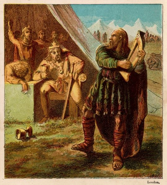 Alfred the Great disguises himself as a wandering musician and plays the harp in the camp of the Danes while gathering information about their military strength