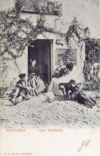 Algeciras, Spain - Andalucian Folk at home - a seated woman is playing the guitar Date: circa 1903
